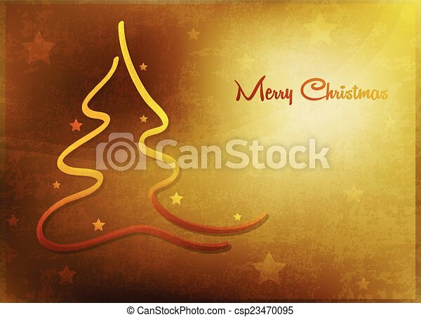Card with Christmas tree - csp23470095