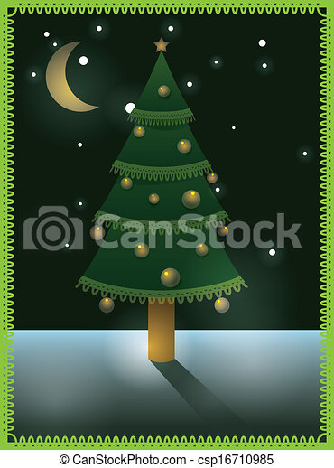 Card with Christmas tree - csp16710985