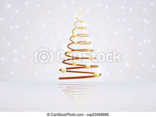 Card with Christmas tree - csp23469686