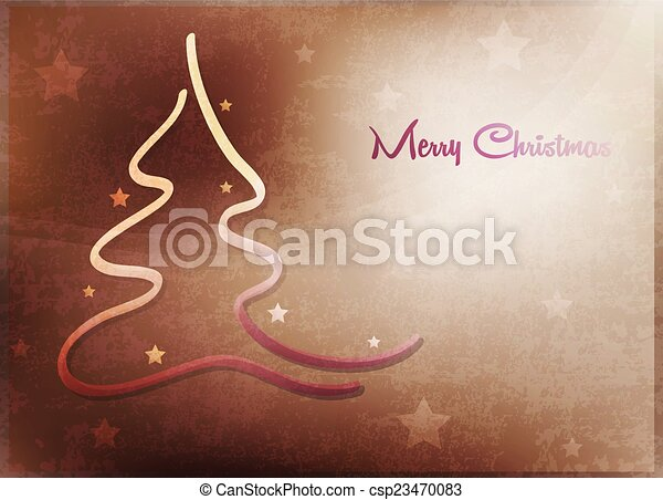 Card with Christmas tree - csp23470083