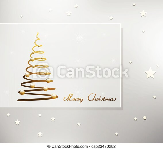 Card with Christmas tree - csp23470282