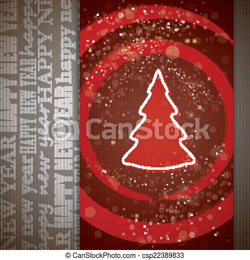 card with christmas tree - csp22389833