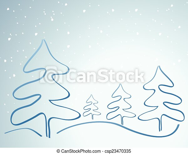 Card with Christmas tree - csp23470335