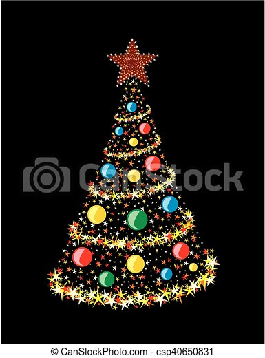 Card with Christmas tree. - csp40650831