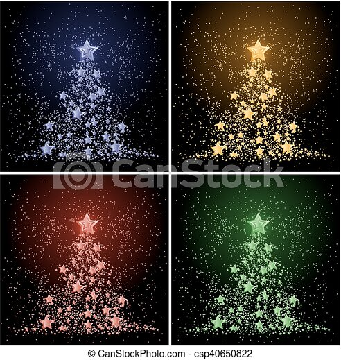 Card with Christmas tree. - csp40650822