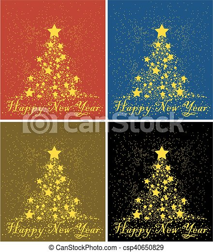 Card with Christmas tree. - csp40650829