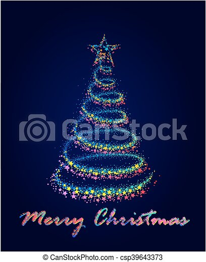 Card with Christmas tree. - csp39643373