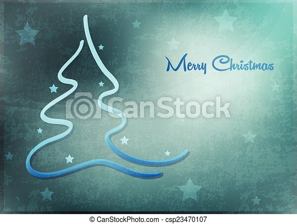 Card with Christmas tree - csp23470107