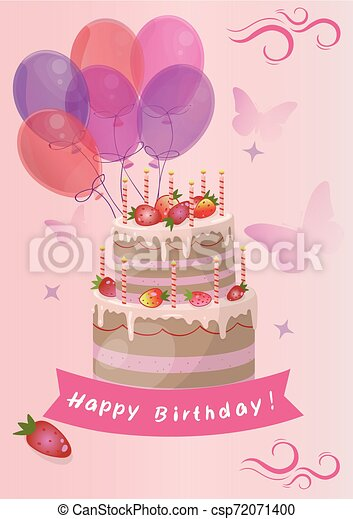 card with cute strawberry Birthday Cake vector - csp72071400