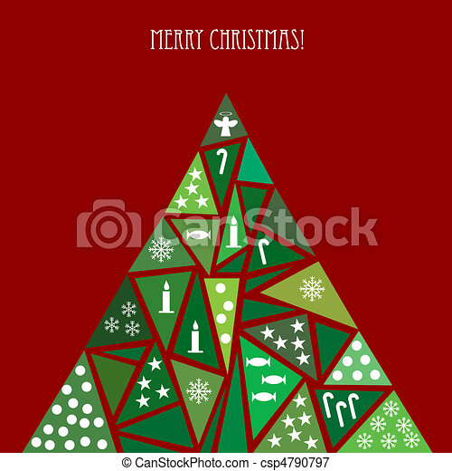 Card with decorated Christmas tree - csp4790797