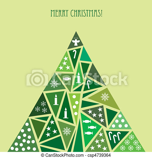 Card with decorated green Christmas tree - csp4739364