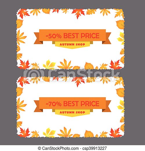 card with discount of 50 70 percent autumn flyer template and
