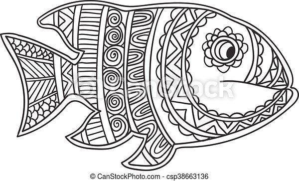 Card with fish. coloring book page for adults and child ...