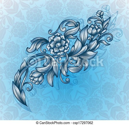 card with floral pattern  - csp17297062