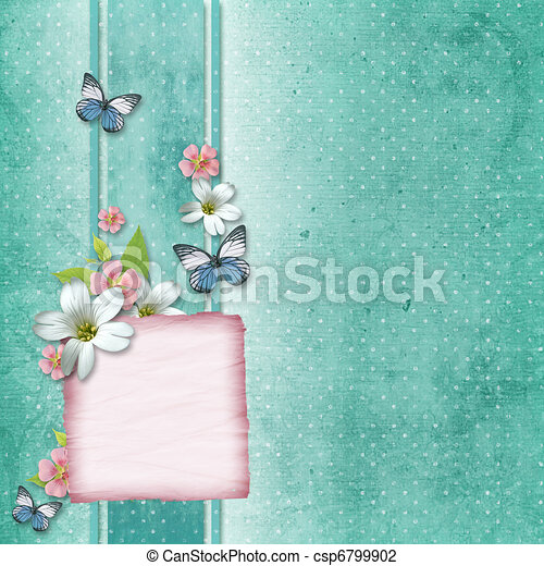 card with flowers and butterfly for congratulation to holiday  - csp6799902