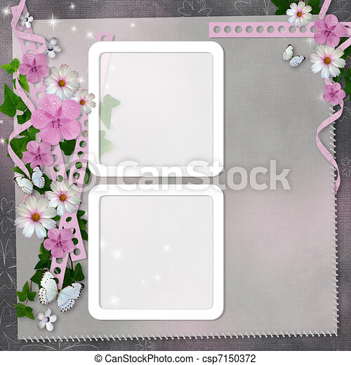 card with flowers and butterfly for congratulation to holiday  - csp7150372