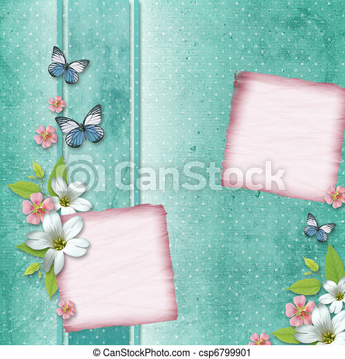 card with flowers and butterfly for congratulation to holiday  - csp6799901