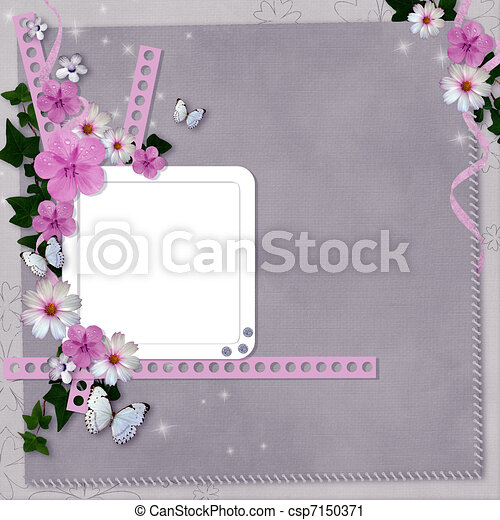 card with flowers and butterfly for congratulation to holiday  - csp7150371