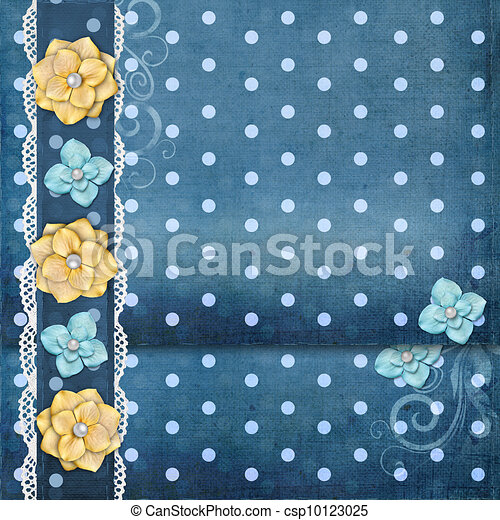 card with flowers  for congratulation to holiday  - csp10123025