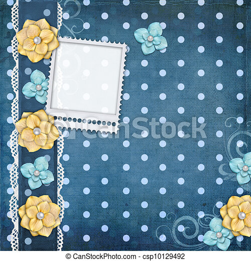 card with flowers  for congratulation to holiday  - csp10129492