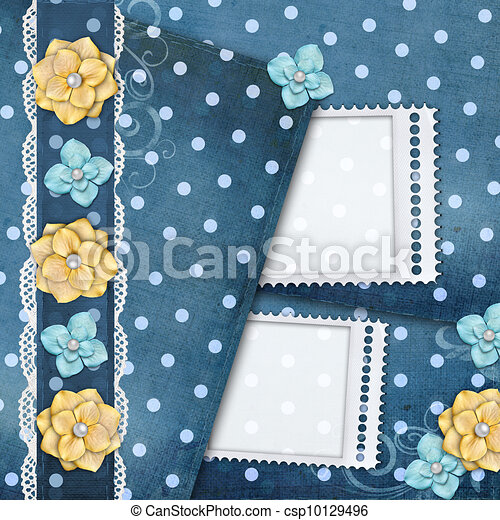 card with flowers  for congratulation to holiday  - csp10129496