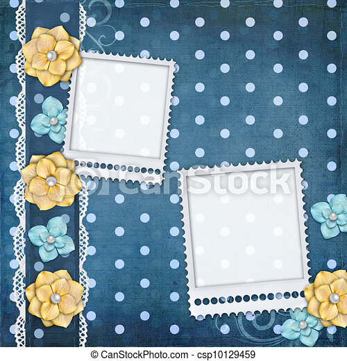 card with flowers  for congratulation to holiday  - csp10129459