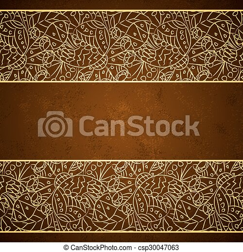 Card with gold floral ornament on brown grunge background - csp30047063