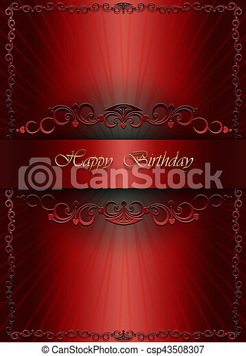 Card With Gold Happy Birthday On Red Background Greetings Card With Gold Happy Birthday On Red Gradient Background