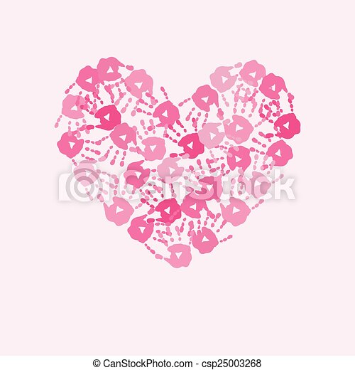 Card with  heart of pink handprints - csp25003268