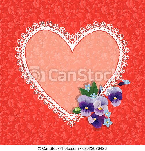 Card with Heart shape is made of lace doily and pansy folwers on - csp22826428