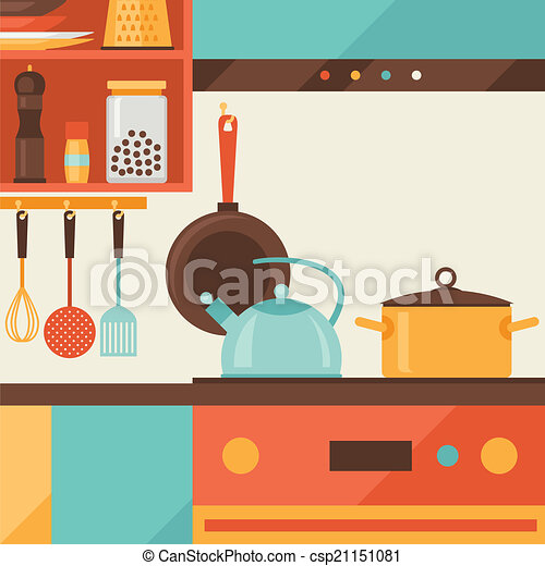 Card with kitchen interior and cooking utensils in retro style. - csp21151081