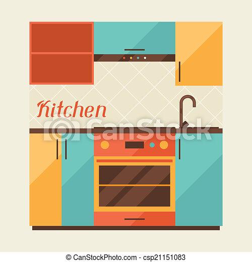 Card with kitchen interior in retro style. - csp21151083