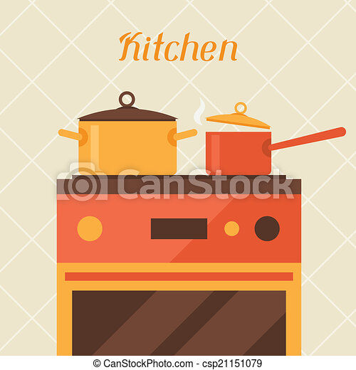 Card with kitchen oven and cooking utensils in retro style. - csp21151079