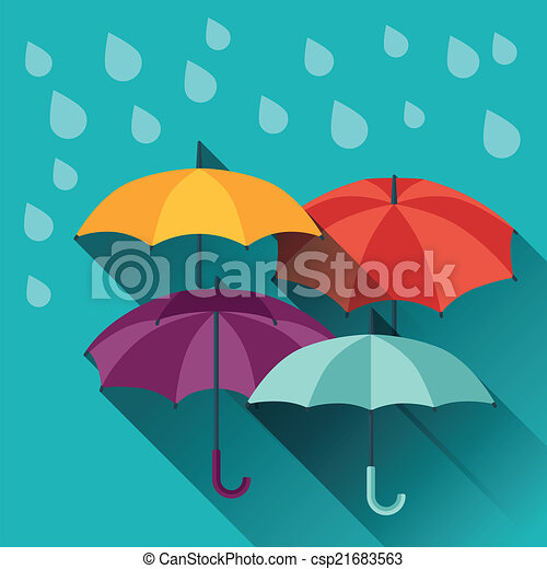 Card with multicolor umbrellas in flat design style. - csp21683563