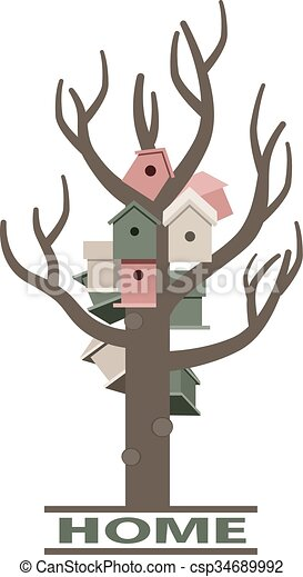 Card with nesting boxes on the tree - csp34689992