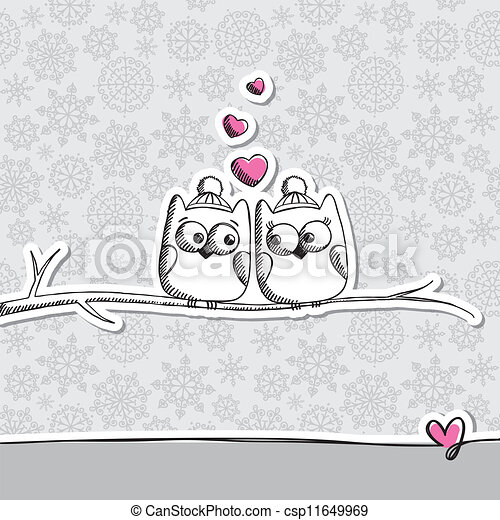 card with owls - csp11649969