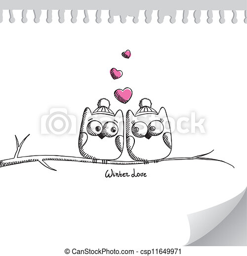 card with owls - csp11649971