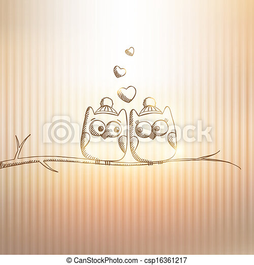 card with owls - csp16361217