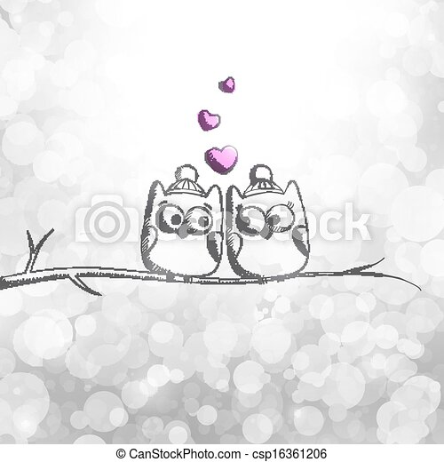 card with owls - csp16361206