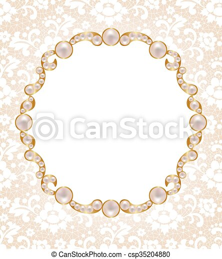 card with pearl frame gold frame decorated with pearls on a lace