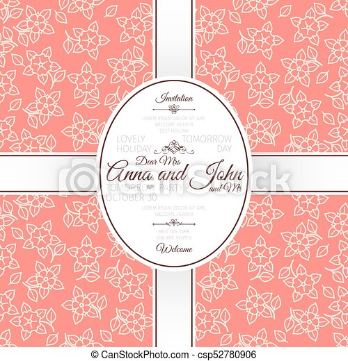 Invitation template card with pink japanese flowers pattern card with pink japanese flowers pattern csp52780906 stopboris