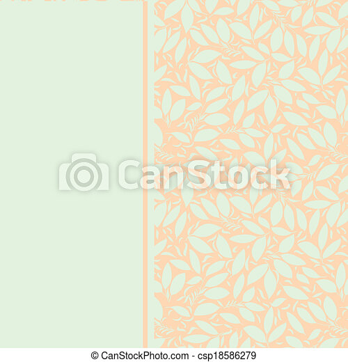 Card With Plant Otnament Pastel Color Card With Plant Otnament Pastel Mint Color On A Peach Color Background Use As