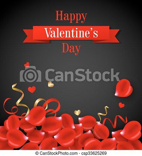 Card with red rose petal - csp33625269