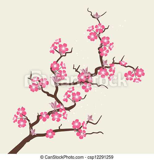 Card with stylized cherry blossom flowers. - csp12291259
