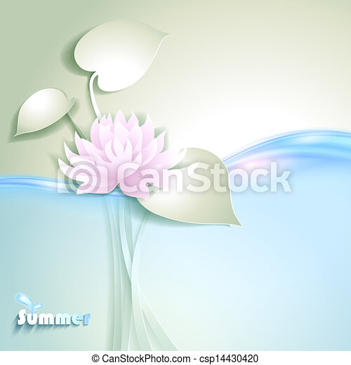 Card with stylized waterlily - csp14430420