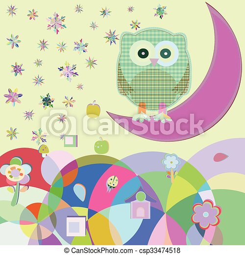 Card with two owls on branch at day, vector illustration - csp33474518