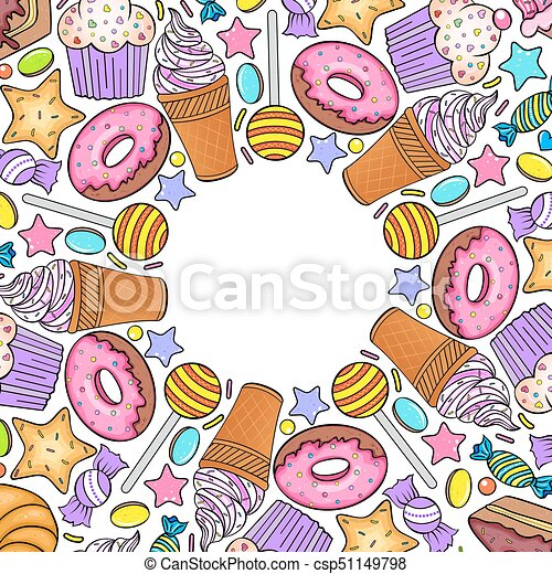 card with various sweets - csp51149798