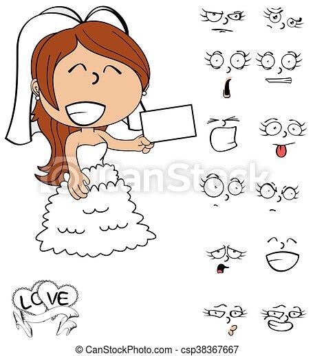 card young bride cartoon emotions - csp38367667