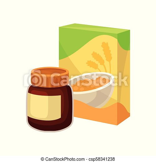 Cardboard box of corn flakes and jar of chocolate peanut butter. Tasty and healthy breakfast. Flat vector icons of supermarket products - csp58341238
