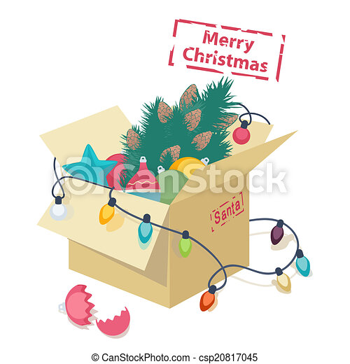 cardboard box with christmas decorations csp20817045 - Cardboard Box Christmas Decorations